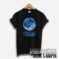 5sos shirt 5 second of summer shirt blue moon black DW11