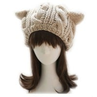 Devil horns Cat Ear Crochet Braided Knit Ski Wool Hat Cap Of Korean Women Style WHF155 (1-Khaki)