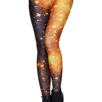 ROMWE Yellow Night Sky Print Black Leggings