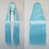 Free Shipping Hatsune Miku Anime Cosplay Wig Straight Ice Blue 100cm Long Wig Heat Resistant