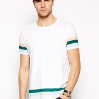 ASOS Stripe T-Shirt With Hem And Sleeve Print