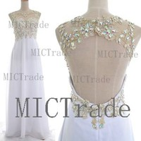 Straps with Open Back Lace and Chiffon White Prom Dresses