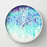 Indigo & Aqua Abstract - doodle painting Wall Clock by micklyn