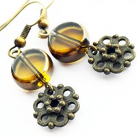 Cute glass crystal bronze flower vintage look cyber delicate affordable gift