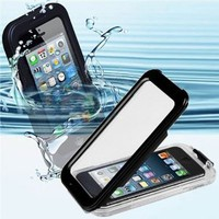 CyberTech 25ft Waterproof Shockproof Dirt Proof Silicon Touch Screen Case for iPhone 5 / 5S (Color: Black)