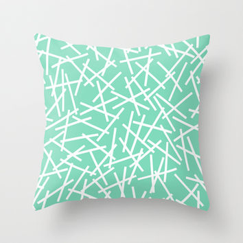 Kerplunk Mint Throw Pillow by Project M