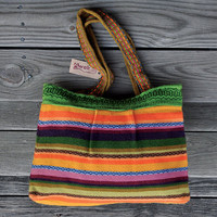 Handwoven Bag - Woman Girls Ethnic Andean Multicolor Stripes Bag - Alpaca Wool Shoulder Bag - AWAK
