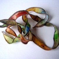 Hand Dyed Painted Habotai Silk Wrap Bracelet - Green Rust Brown Gold Blue- Fairy Ribbon