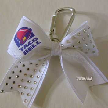 Taco Bell Rhinestone Key Chain Cheer Bow Cheerleading