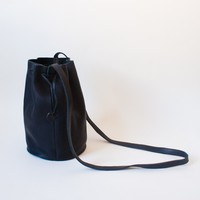 Leather Drawstring Purse, Black