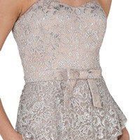 LACE BOW BELT PEPLUM GOWN