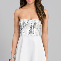 Short Strapless Dress with Sequin Detailing