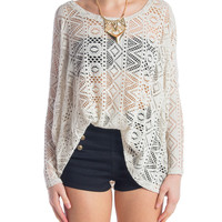 Crochet Oversized Long Sleeve Top - Beige