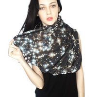 Oversized Starry Night Circle Scarf, Infinity Scarf, Cowl Scarf