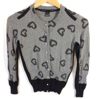 Marc Jacobs Sparkle Silver Valentines Heart Cardigan Sweater Womens Size XS