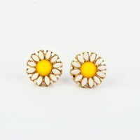 Cute Charm Fashion Elegant Alloy Daisy Sunflower Flower Shape Earrings EarStud