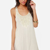Black Swan Bloom Crochet Cream Dress
