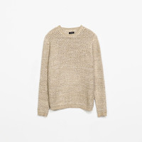 TWISTED-YARN OPENWORK SWEATER