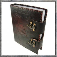 Leather Book of Shadows With Pentagram & Latches - ONLY 1 LEFT at Every Witch Way Online Shop