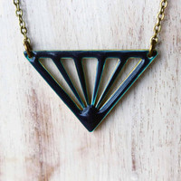 Reversible Geometric Necklace - Indigo Blue, Grass Green - Enameled Brass - Modern, Minimalist Fashion - Gift Box