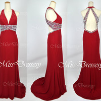 Mermaid Haler V Neck with Sequined Dark Red Evening Gown, Wedding Party Dresses, Evening Dresses, Dark Red Prom Dresses