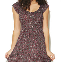 Floral Printed Knit Skater Dress | Wet Seal