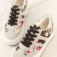 OASAP OXFORDS, PREPPY-STYLE-FLORAL-SNEAKERS, BLACK, EURO38/US7/UK5, OP37096
