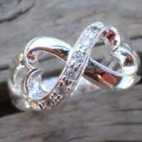 Infinity Heart Silver Plated Zirconium Ring Size 6
