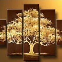 Santin Art - 100% Hand Painted Modern Abstract Oil Painting on Canvas Wall Art Deco Home Decoration Tree of Life 5 Pic/set Stretched Ready to Hang