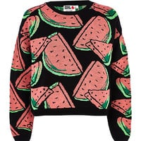 Black Chelsea Girl watermelon crop jumper