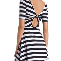 Back Cut-Out Striped Skater Dress