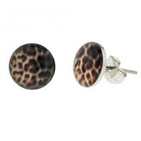 Stainless Steel Fake Plug Earrings - 16g Wire - 00G - Leopard