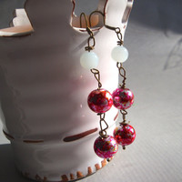 Marble Textured Pink Wire Wrapped Dangle Earrings