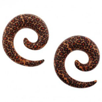 Orange Leopard Wrapped Spiral Acrylic Expanders - Sold as a Pair