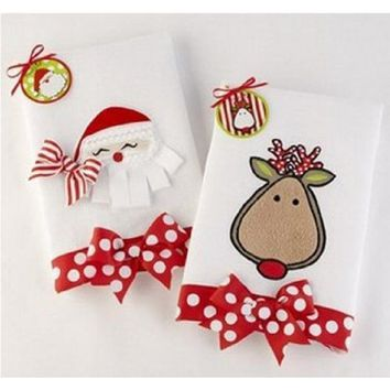 Mud Pie Santa/deer Linen Towel