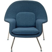 Eero Saarinen Style Blue Tweed Chair/ Ottoman Set