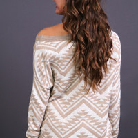 Cozy Aztec Sweater in Light Mocha