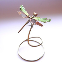 Mechanical Dragonfly No 8 Sculpture Recycled Watch Parts Clockwork Dragon Fly Figurine Watch Stems and Faces Insect Justin Gershenson-Gates