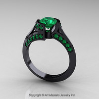 Modern French 14K Black Gold 1.0 Ct Emerald Engagement Ring Wedding Ring R376-14KBGEM