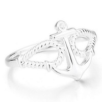 JBlue Jewelry Women's 925 Sterling Silver Ring CZ Silver Anchor Polished Personalized Size6 (with Gift Bag)