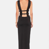 Grecian Pieces Cutout Black Maxi Dress
