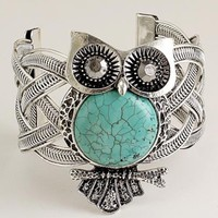 Owl Antique Silver Metal Turquoise Stone Cuff