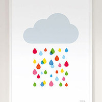 Multicoloured Rain Cloud Print