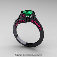 Modern French 14K Black Gold 1.0 Ct Emerald Pink Sapphire Engagement Ring Wedding Ring R376-14KBGPSEM