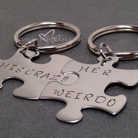 His Crazy Her Weirdo, Couples Keychains, Puzzle Piece Keychains, Couples Keychains, Hand Stamped Keychains, Couples Gift