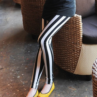 Black white stripe leggings, stripe tights, legwear