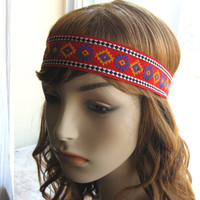 Ethnic Woven Trim Tribal Head Band, Flowerchild Headband, Bohemian Hippie Hairband, Boho Chic, Festival Hair Accessories