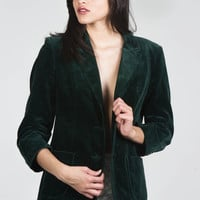 Green Velvet Blazer- Found on Bib + Tuck