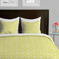 Yellow Spirals Duvet Cover