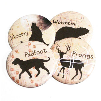 Animal Pins Fandom Buttons Wormtail Moony Padfoot Prongs SIlhouettes Pinback Buttons Book Accessories Geeky Pins
